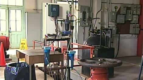 Fluoridation facilities are seen in this undated image taken from video.