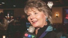 Incumbent Brenda Halloran speaks with CTV News after being re-elected as Waterloo mayor on Monday, Oct. 2, 2010.