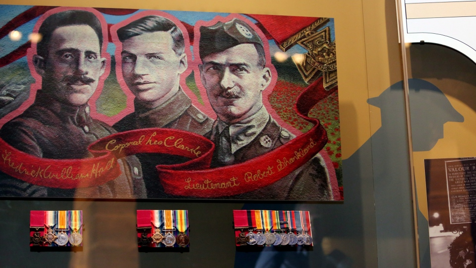 The Victoria Cross Medals of recipients Corporal Lionel Clarke, Sergeant Major Frederick Hall and Lieutenant Robert Shankland are displayed after the unveiling of the medals at the National War Museum in Ottawa, Monday, Nov. 5, 2012. (Fred Chartrand / THE CANADIAN PRESS)