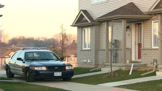 The scene of an armed robbery in Waterloo, Ont. is seen on Wednesday, Nov. 14, 2012.