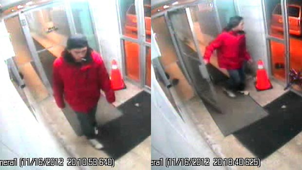 Images taken from surveillance video show a suspect sought in a sexual assault in Cambridge, Ont. on Wednesday, Nov. 14, 2012. (Courtesy Waterloo Regional Police Service)