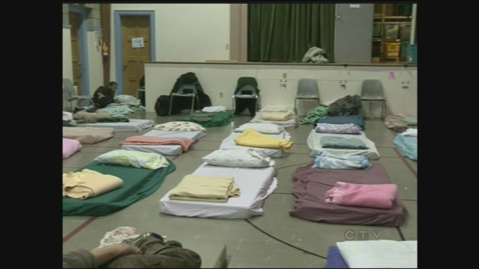 Beds set up for the Out of the Cold program in Waterloo