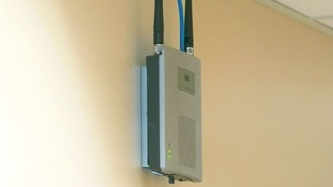 A wireless Internet network transmitter is seen is this undated image taken from video.