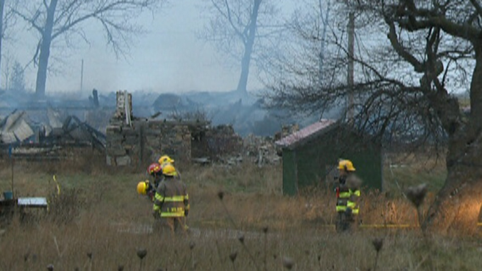 Fire fighters at the Hergott Barn in Waterloo, Dec. 11 2012