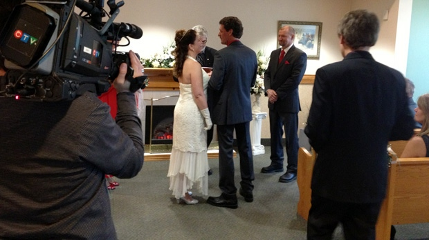 The symmetry of the date brought out 12 couples to get married at Kitchener city hall on Wednesday, Dec. 12, 2012. (David Imrie / CTV Kitchener)