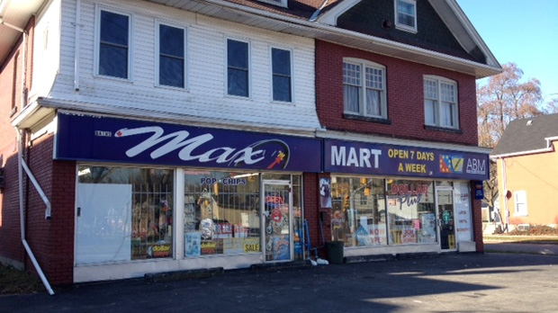 This Brantford store was robbed Tuesday night; its owner shot three times with a pellet gun. (Art Baumunk / CTV Kitchener)