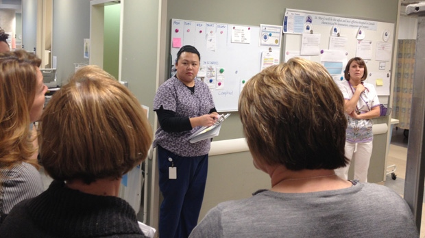 Staff at St. Mary's General Hospital in Kitchener, Ont., take part in a daily huddle to address patient safety concerns. (David Imrie / CTV Kitchener)
