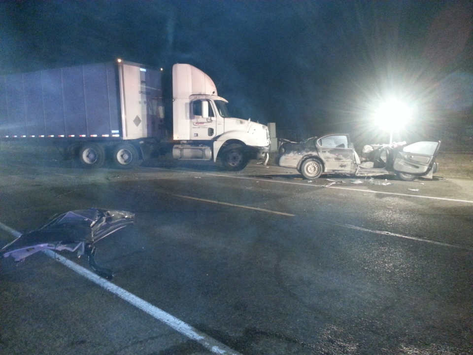 A transport truck and car collide in Elmira. (Johnny Mazza / CTV News)