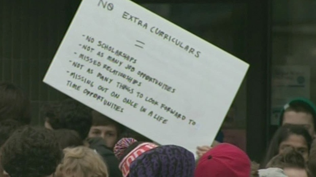 Students protest outside the office of Guelph MPP Liz Sandals on Monday, Dec. 17, 2012. (CTV Kitchener)