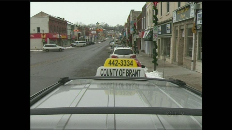The top of a taxi is seen in Paris, Ont., on Thursday, Jan. 3, 2013. (CTV Kitchener)