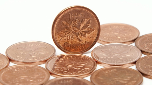 Canadian pennies are shown in Vancouver, Wednesday, May 26, 2010. (Jonathan Hayward / THE CANADIAN PRESS)