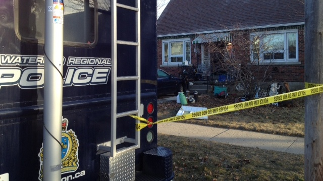 Waterloo Regional police command unit set up at the site of one of the raids executed on Wednesday, Jan. 16, 2013. (Kevin Doerr / CTV Kitchener)