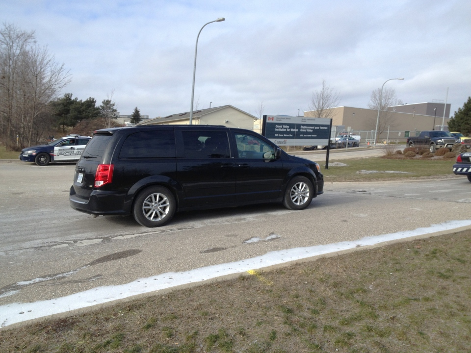 Jurors in the Ashley Smith inquest arrive at Grand Valley Institution for Women in Kitchener, Ont., on Thursday, Jan. 17, 2013. (Nicole Lampa / CTV Kitchener)