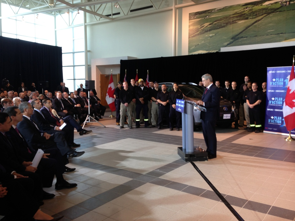 Prime Minister Stephen Harper speaks at the Toyota plant in Cambridge, Ont., on Wednesday, Jan. 23, 2013. (Brian Dunseith / CTV Kitchener)