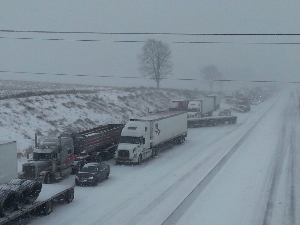 A lineup of vehicles is seen on the eastbound Highway 401 after a multi-vehicle crash in Oxford County on Friday, Feb. 1, 2013. (Admar Ferreira / CTV London)