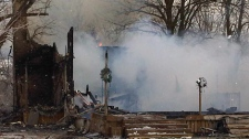 An early morning fire has levelled a home in Rostock, Ont. on Wednesday, Jan. 5, 2011. (Meghan Furman / CTV News)