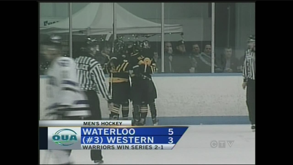 The Waterloo Warriors upset the 3rd-ranked Western Mustangs in the OUA men's hockey playoffs on February 24, 2013.