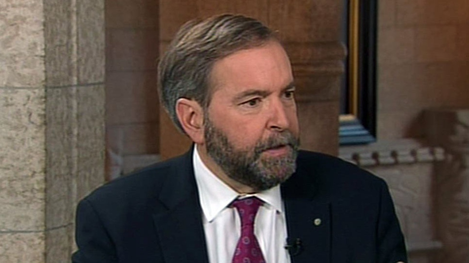 Opposition Leader Thomas Mulcair appears on CTV's Power Play in Ottawa on Monday, Feb. 25, 2013.
