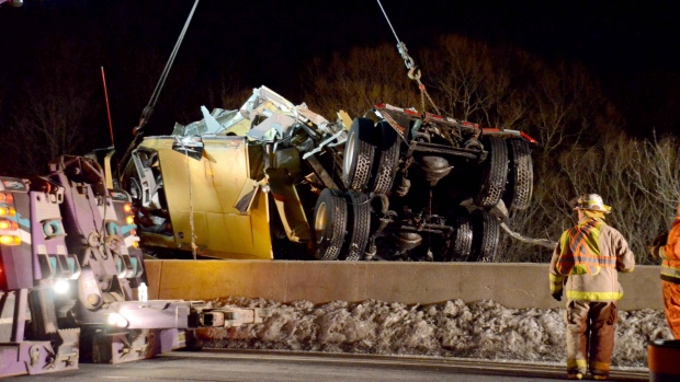 The cab of a tractor-trailer is removed from the Nith River near Ayr, Ont., on Tuesday, March 5, 2013. (Andrew Collins / CTV Toronto)