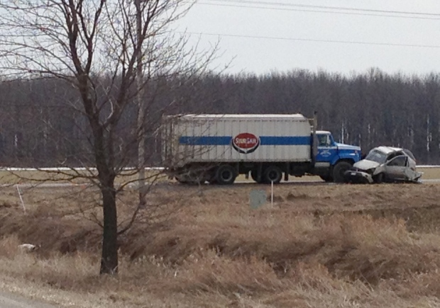 The feed truck and SUV involved in a fatal crash near Seaforth, Ont., are seen on Monday, April 8, 2013. (David Imrie / CTV Kitchener)