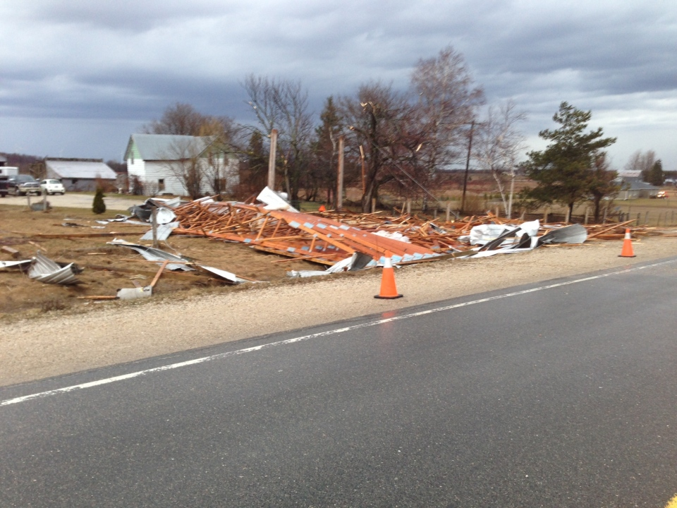 Damaged property is seen in this picture after a storm hit the Shelburne area, located approximately 100 kilometres northwest of Toronto, on Thursday, April 18, 2013. (CTV/Heather Wright)