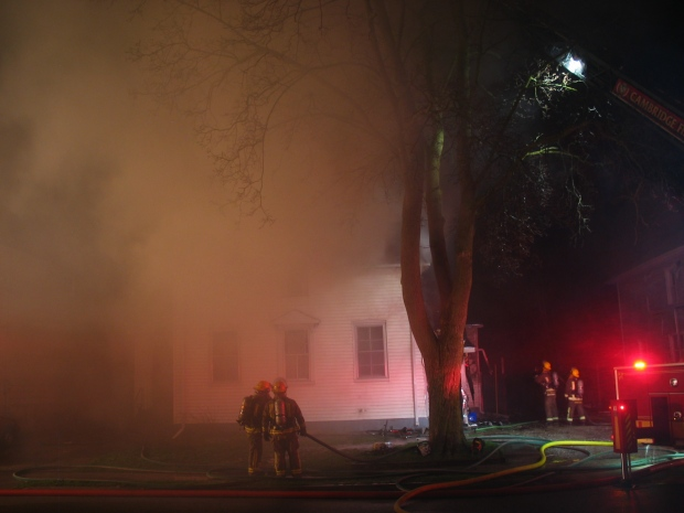 Firefighters battled flames at a housing complex on Victoria Avenue in Cambridge, Ont., on Wednesday, April 24, 2013. (Courtesy Brent W.J. Mackie)