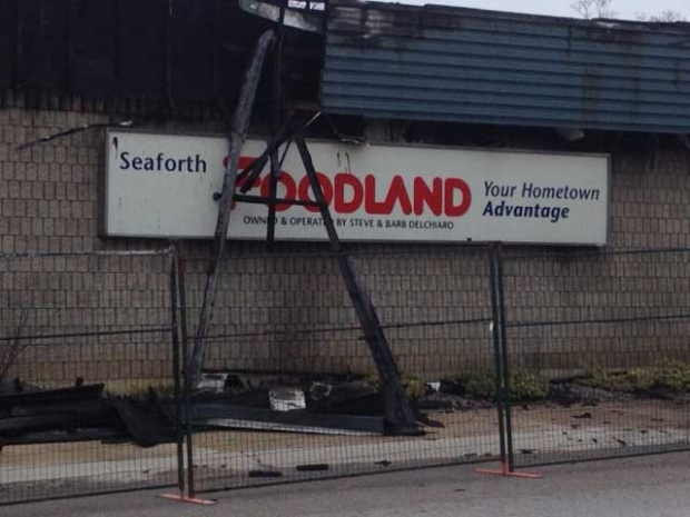 Damage is seen after a weekend fire at the Foodland grocery store in Seaforth, Ont. on Monday, April 29, 2013. (Scott Miller / CTV London)