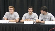 From left, Gabriel Landeskog, Ben Fanelli and Ryan Murphy discusses the new Head Strong program at The Aud in Kitchener, Ont. on Thursday, March 10, 2011.