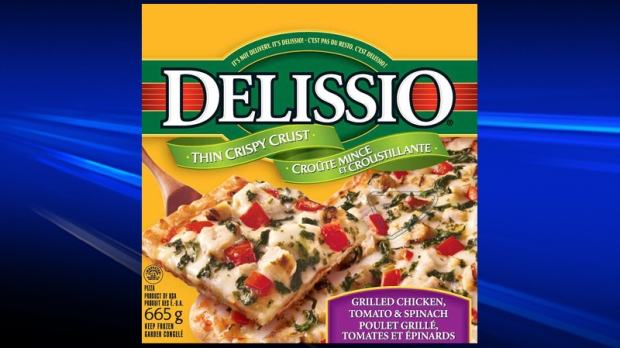 Delissio grilled chicken, tomato & spinach pizza