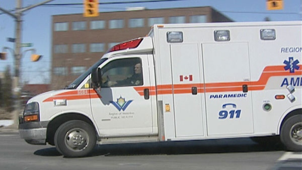 A Waterloo Region ambulance arrives at Grand River Hospital in Kitchener, Ont. on Thursday, March, 9, 2011.