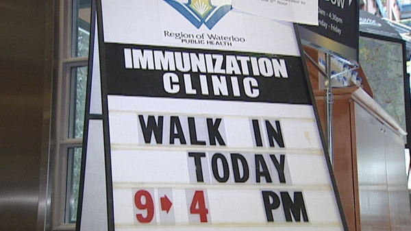An immunization clinic being held by Region of Waterloo Public Health is seen Tuesday, April 5, 2011.