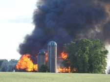 Barn fire in Woolwich township.