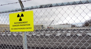 This photo shows rows of chambers holding intermediate-level radioactive waste in shallow pits at the Bruce Power nuclear complex near Kincardine, Ont. on Nov. 1, 2013. (AP / John Flesher)
