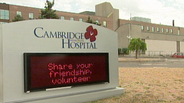 Cambridge Memorial Hospital is seen on Monday, July 25, 2011.