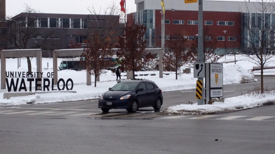 A car leaves the University of Waterloo campus on Thursday, Dec. 19, 2013. (Braden Dragomir / CTV Kitchener)