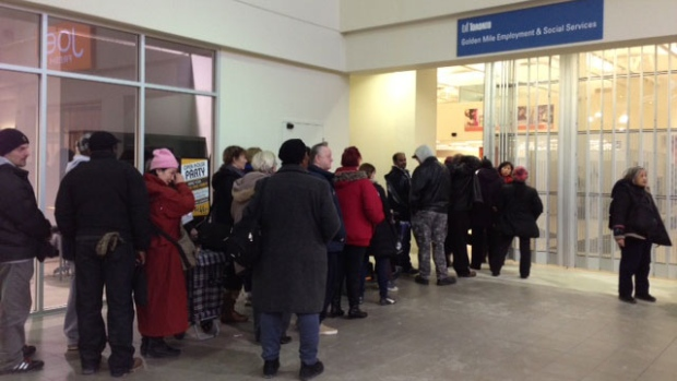 Residents line up for grocery gift cards