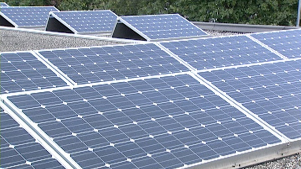 Solar panels are seen on the roof of a business in St. Marys, Ont. on Thursday, Aug. 18, 2011.