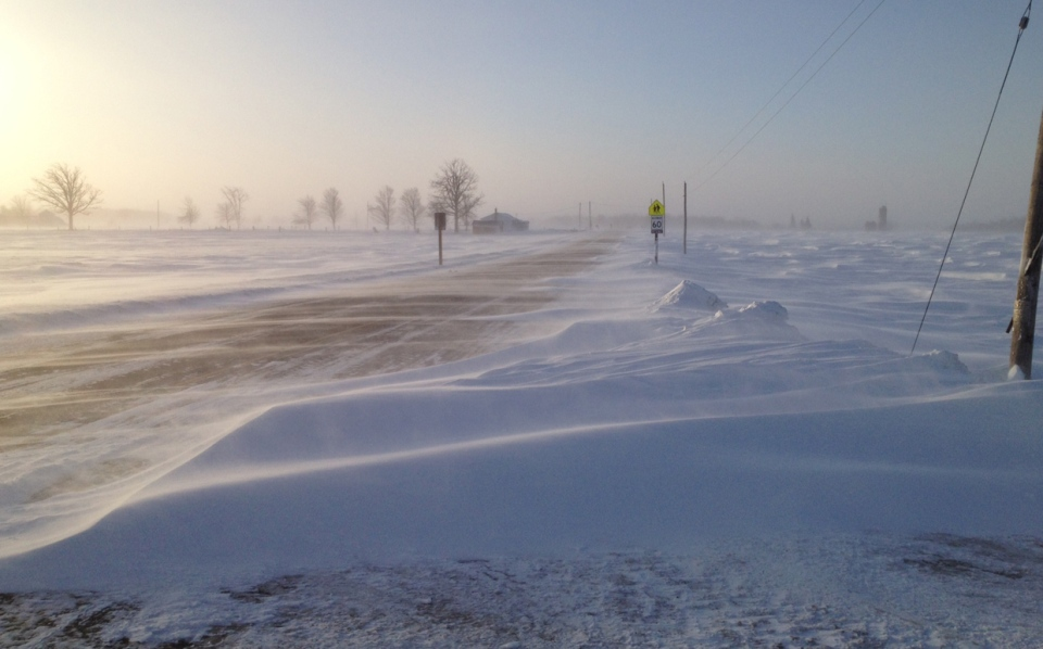 Blowing snow made for difficult conditions on Highway 86 outside Elmira, Ont., on Tuesday, Jan. 7, 2014. (Kevin Doerr / CTV Kitchener)