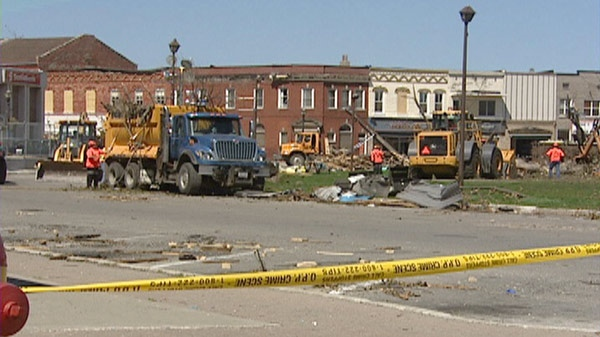 Tornado damage in downtown Goderich, Ont. is seen on Monday, Aug. 29, 2011.