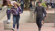 Students walk on the campus of the University of Guelph in Guelph, Ont. on Wednesday, Sept. 7, 2011.