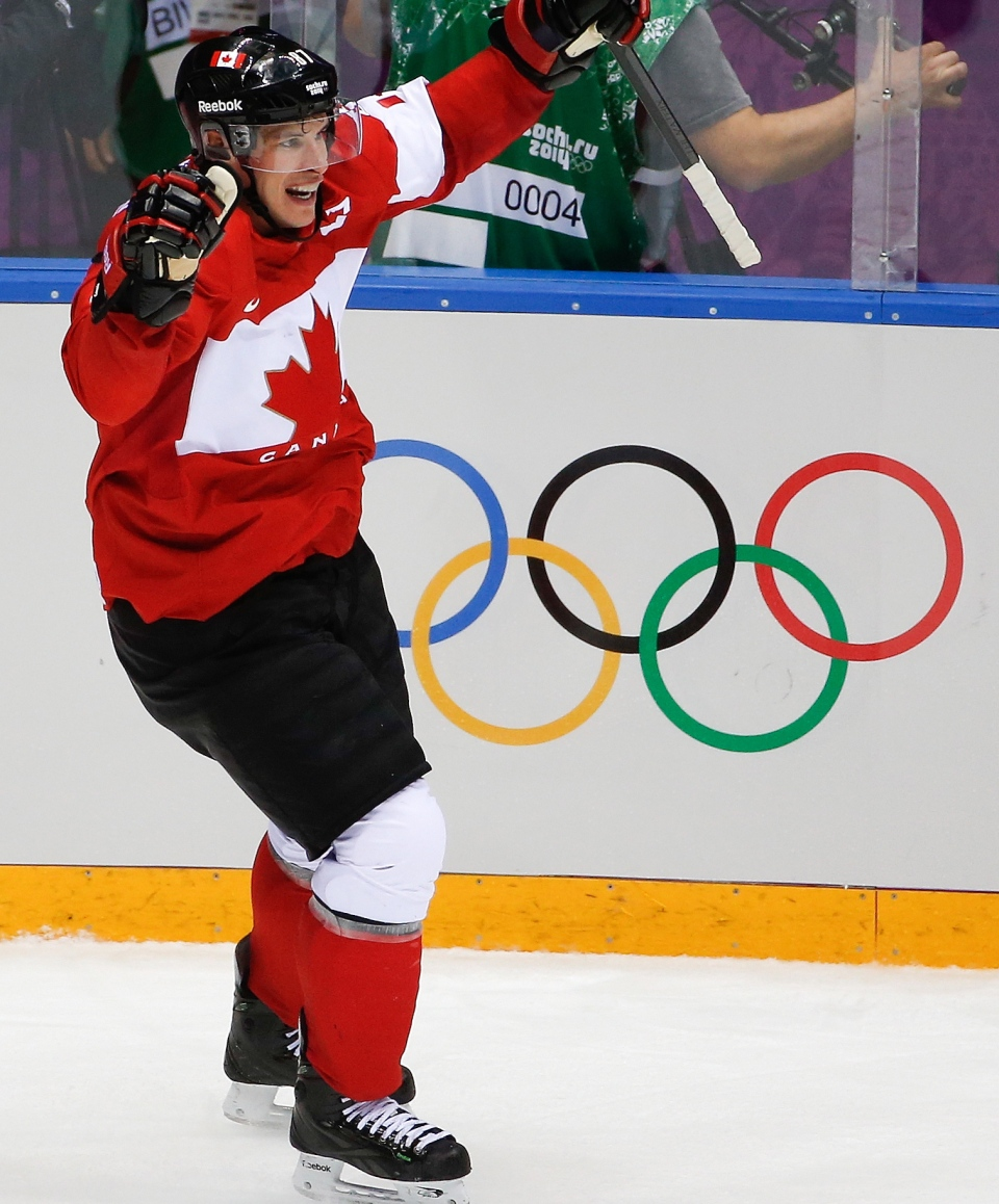 Sidney Crosby of Canada (87) celebrates his goal against Sweden during the second period of the men's gold medal ice hockey game at the 2014 Winter Olympics, Sunday, Feb. 23, 2014, in Sochi, Russia. (AP / Petr David Josek)