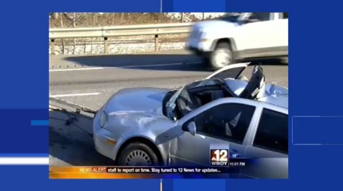 The vehicle driven by local Graham Scroggie is pictured after a serious crash in West Virginia. (WBOY-TV)
