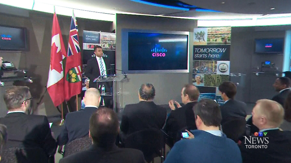 Cisco Canada President Nitin Kawale prepares to speak about the new Toronto IoE Innovation Centre, in Toronto, Wednesday, March 5, 2014.