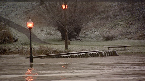 High water is seen along the Grand River after heavy rain in Kitchener, Ont. on Tuesday, Nov. 29, 2011.