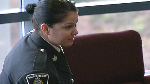 Const. Jennifer Falsetto is seen at Waterloo Regional Police Service headquarters in Cambridge, Ont. on Thursday, Jan. 12, 2012.