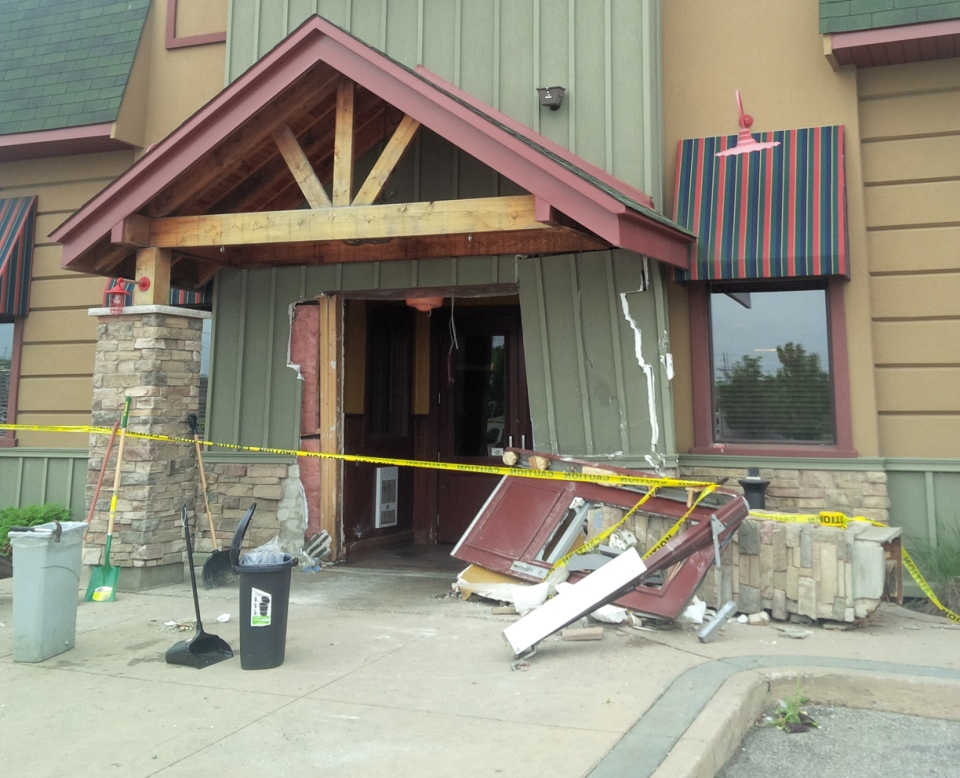 Damage caused to the Turtle Jack's restaurant on Woodlawn Road in Guelph is seen following an unsuccessful break-and-enter on Wednesday, Aug. 20, 2014. (Abiey Lema / CTV Kitchener)