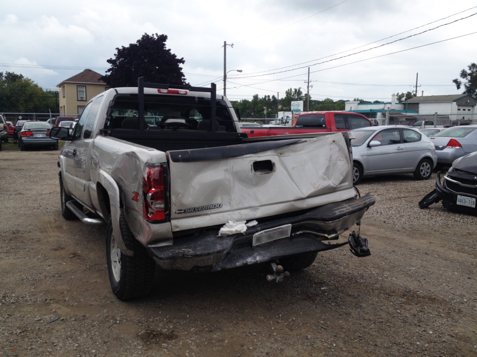 A pickup truck stolen and crashed into a Guelph restaurant is seen on Wednesday, Aug. 20, 2014. (Nicole Lampa / CTV Kitchener)