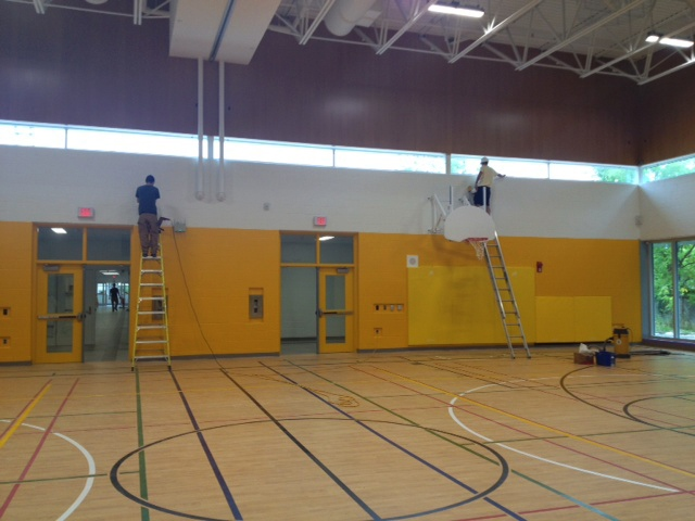 Finishing touches are put on the new gym at Tait Street Public School in Cambridge on Wednesday, Aug. 20, 2014. (Max Wark / CTV Kitchener)