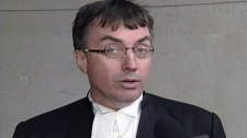 Dirk Derstine, the lawyer for Michael Rafferty, speaks outside the courthouse in London, Ont. on Thursday, March 1, 2012.