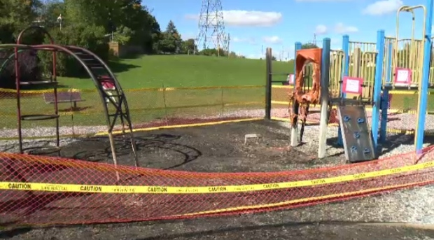 Fire damages a guelph playground ctv news kitchener for Landscaping rocks windsor ontario